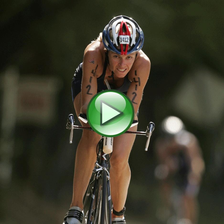 Female IronMan Athlete on bike