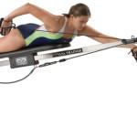 woman swimming freestyle on swim bench