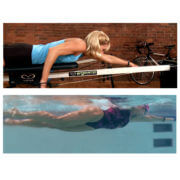 split screen woman on swim trainer vs in pool