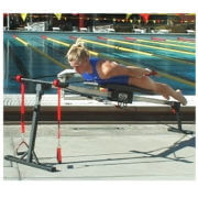 USC swimmer strength training on swim bench