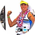 Lisbeth Kenyon celebrating her 2016 win at Kona