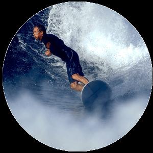 babyboomer surfing waves