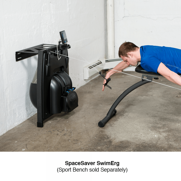 compact indoor swim training with portable bench