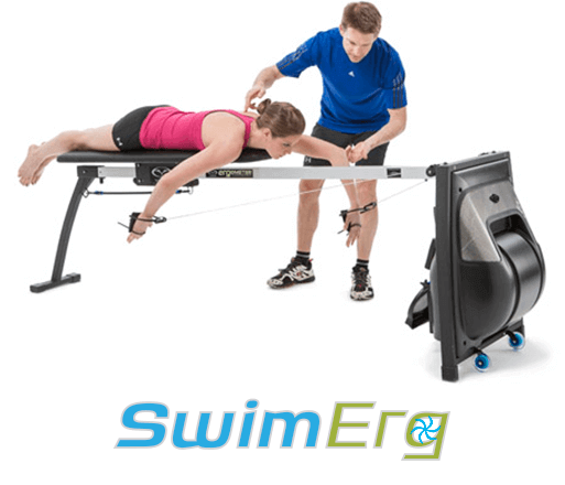Swim Coach instructing swimmer on dryland swim bench