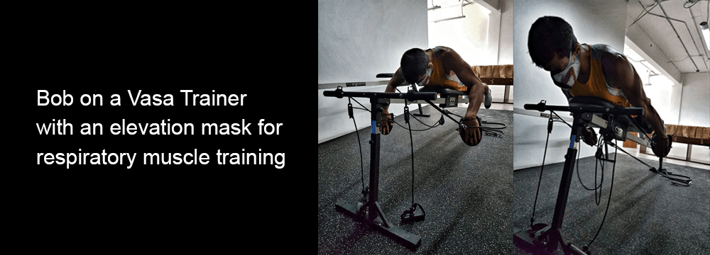 using an elevation mask for respiratory muscle training on swim bench